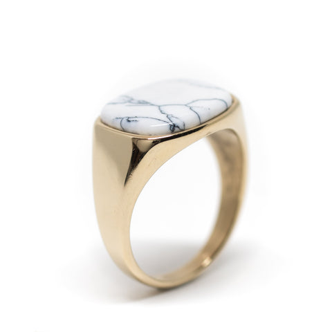 Himsel Ring – Gold White Marble