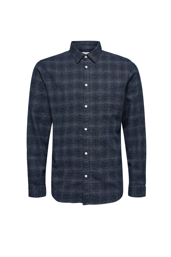 Andrew-Camp Shirt - Dark Blue White