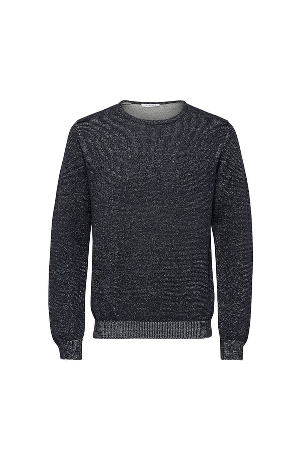 Andrew Camp Crew Neck - Dark Navy/Bone White