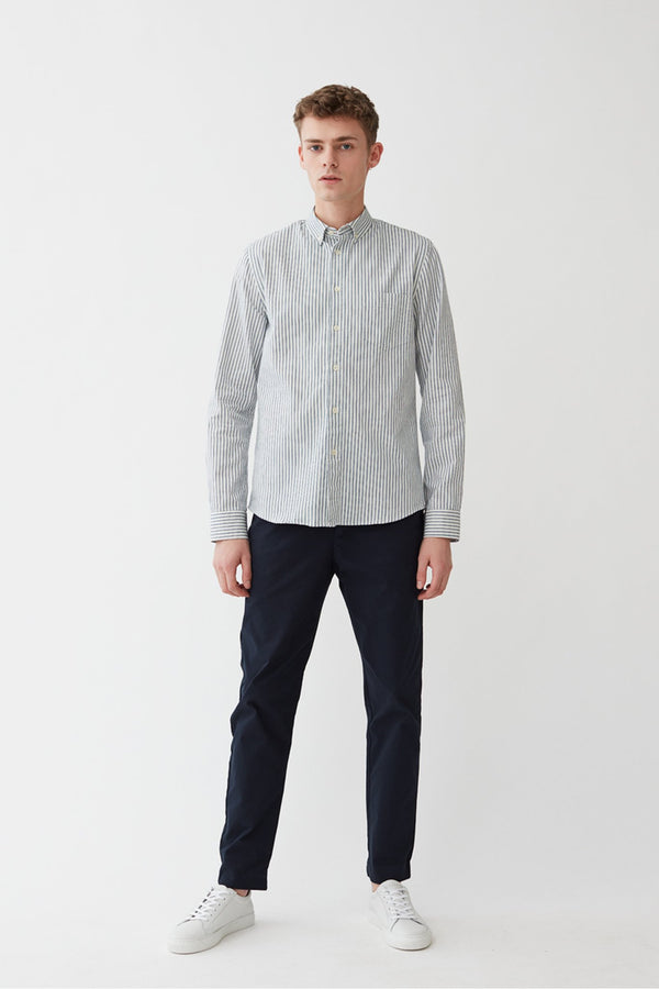 Century Shirt - White/Blue Stripes