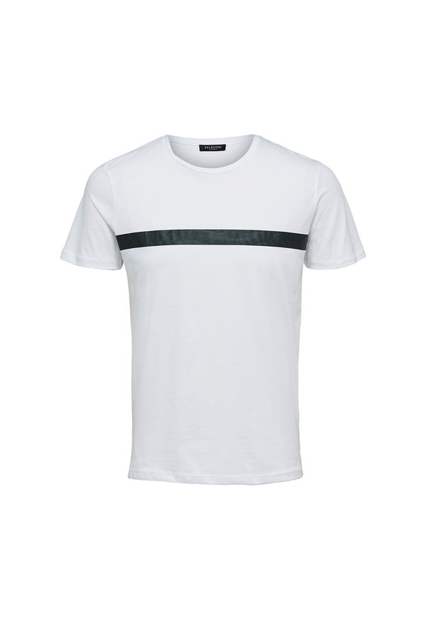 Hugo T-Shirt - Bright White w/ Green Stripes - Audace Copenhagen