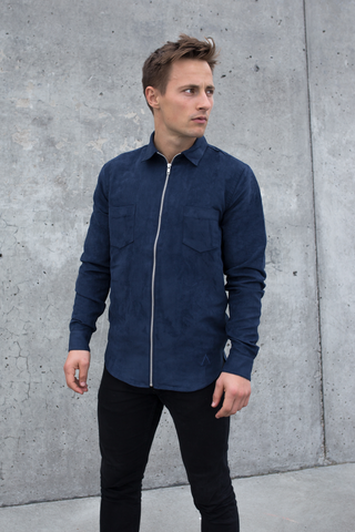 Leon Faux Suede Shirt – Navy Blue