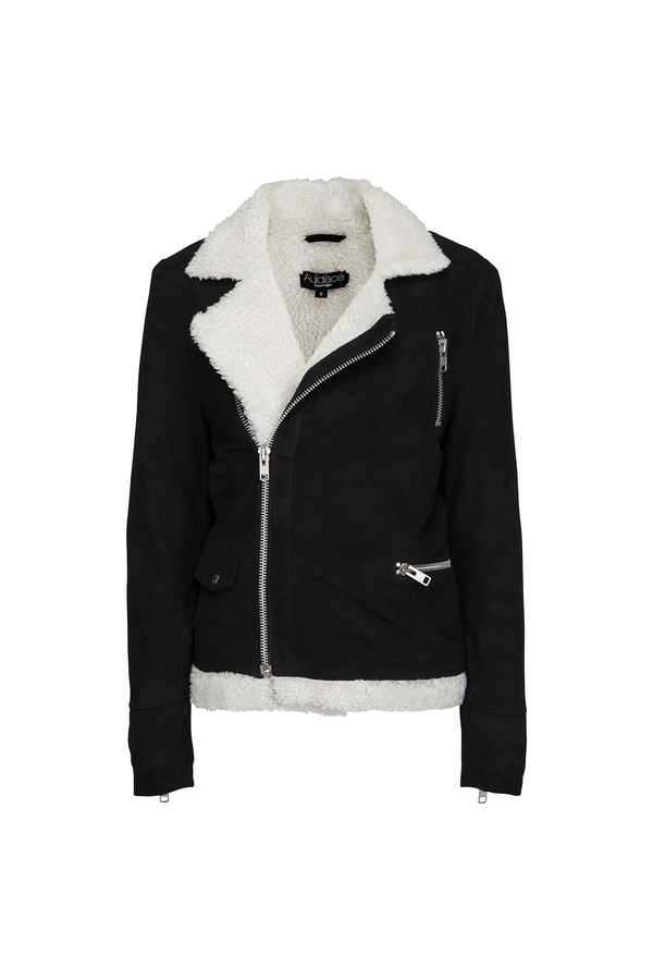 Malmö - Shearling - Suede Leather Jacket - Black