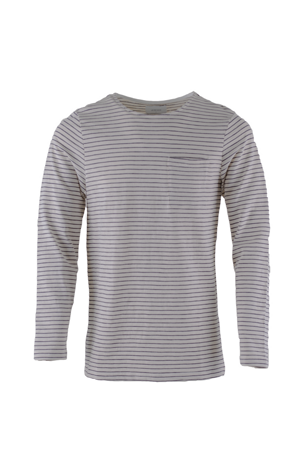 Maui Long Sleeved T-Shirt - Natural/Black Stripes