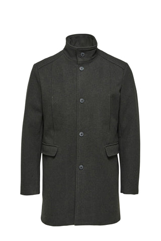 Mosto - Wool Coat - Melange Dark Green
