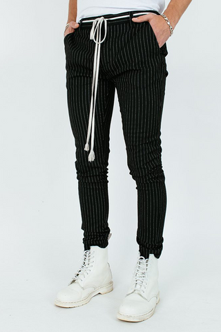 Pinstripe Pants - Black