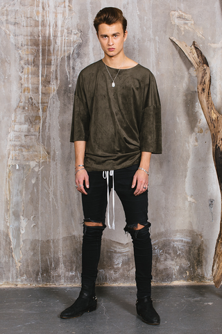 Suede Tee - Army Green