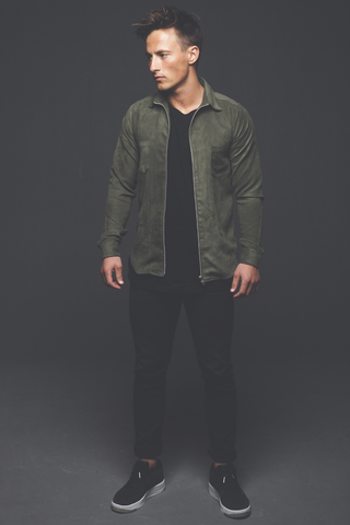 Leon Faux Suede Shirt - Army Green