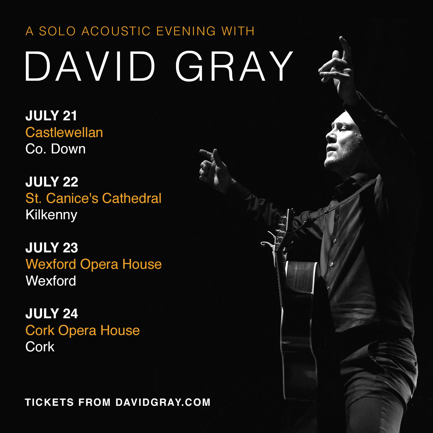 David Gray Irish Tour July 2017
