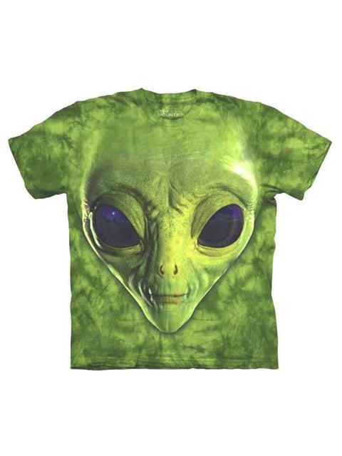 Green Alien Face T-Shirt by The Mountain - My100Brands