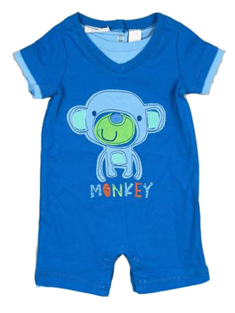Baby Boys' Monkey Applique Romper by My100Brands - My100Brands