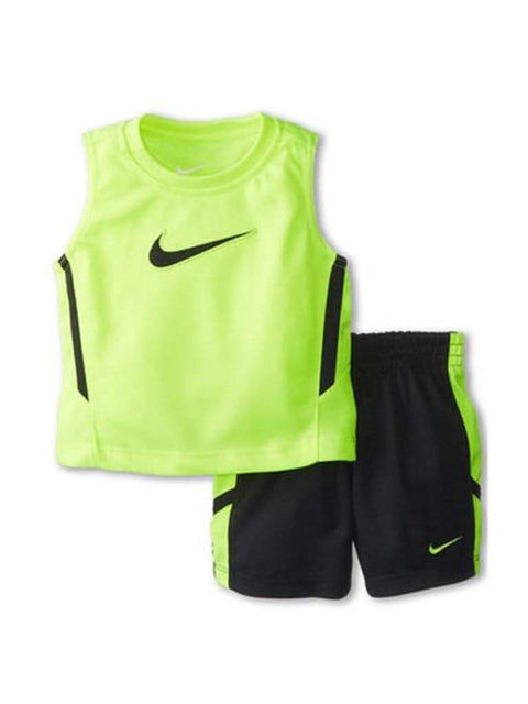 Nike Swoosh Boys Green Tank Top & Athletic Shorts Muscle Shirt Set by Nike - My100Brands