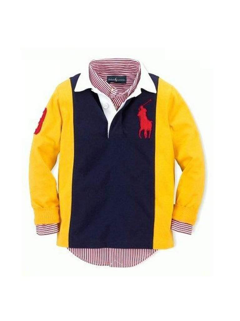 Ralph Lauren Polo Boys' Color Block Big Pony Rugby Shirt by Ralph Lauren - My100Brands
