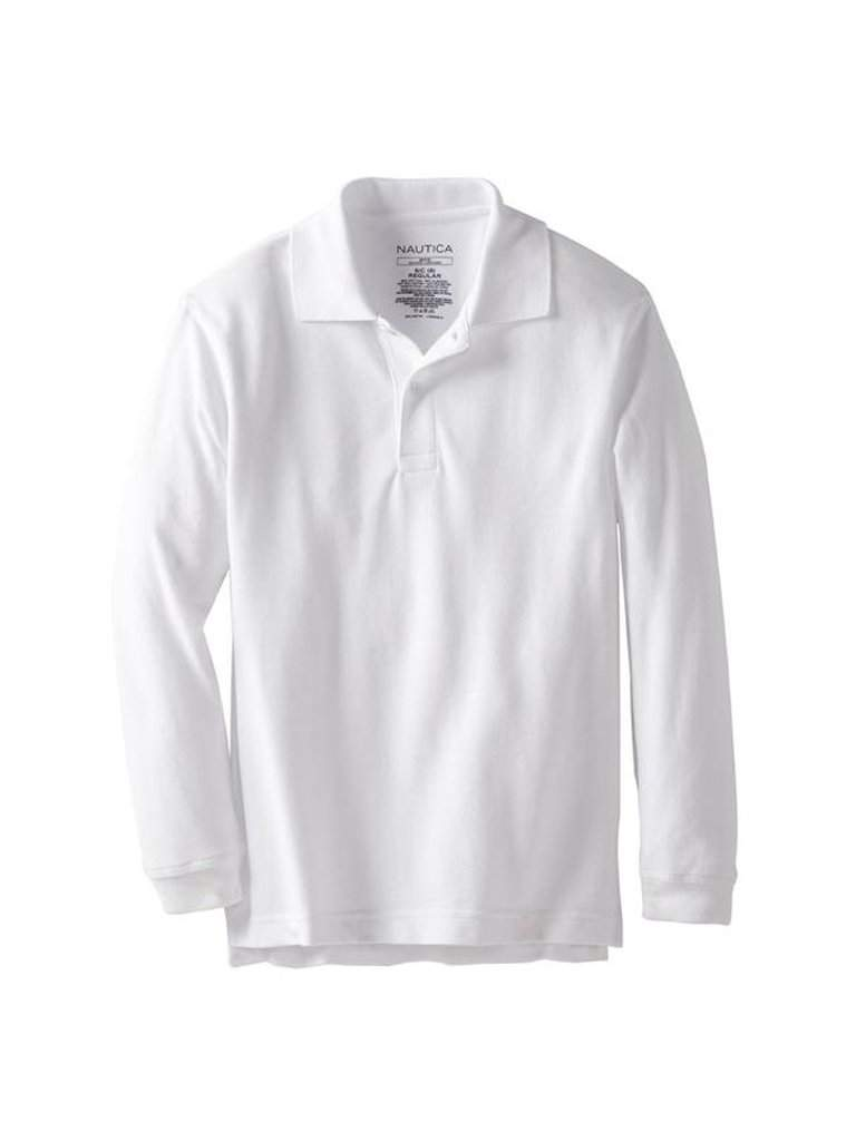 Nautica Big Boys' Long Sleeve Pique Polo - White by Nautica - My100Brands