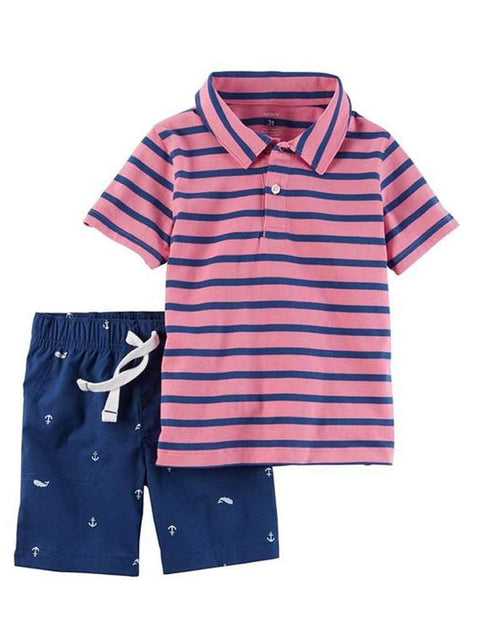 Carter's Short Sleeve Striped Polo Shirt and Poplin Shorts by Carters - My100Brands