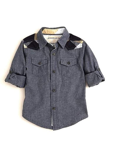 Guess Big Boys' Chambray Woven Shirt with Plaid Trim by Guess - My100Brands