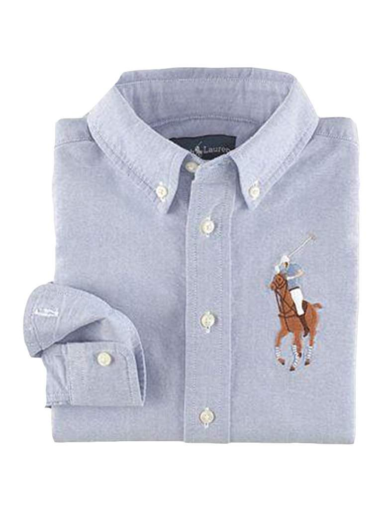 Ralph Lauren Big Boys' Long Sleeve Big Pony Blake Woven Shirt by Ralph Lauren - My100Brands