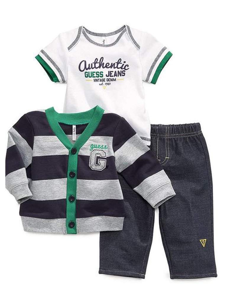 Guess Baby Boy Tee, Cardigan and Pants 3-Pc Set by Guess - My100Brands