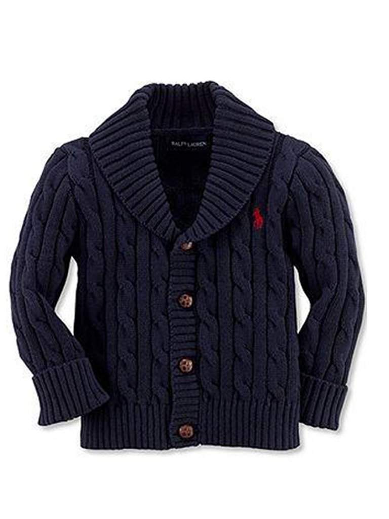 Ralph Lauren Baby Boys' Shawl Collar Cable Knit Cardigan by Ralph Lauren - My100Brands