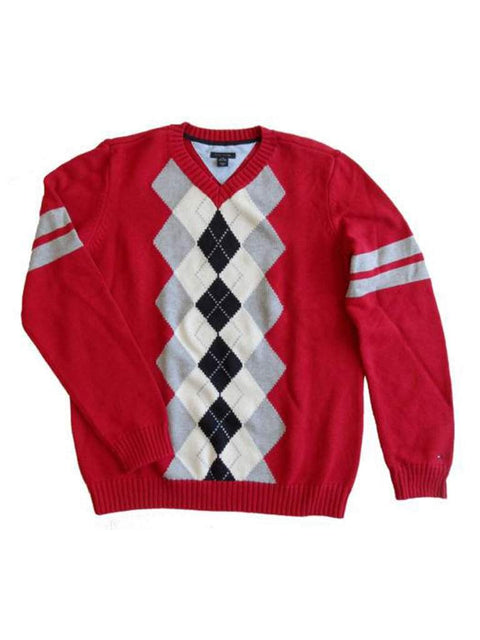 Tommy Hilfiger Big Boys' Argyle V-Neck Knit Sweater - Red by Tommy Hilfiger - My100Brands