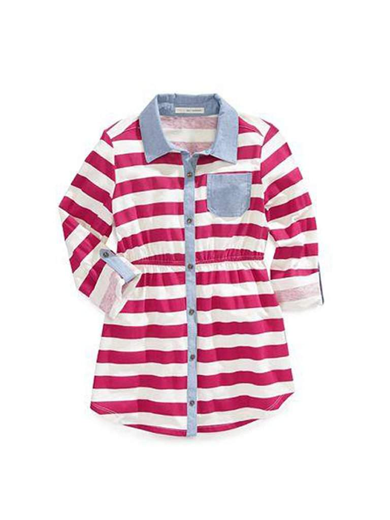 Girls Striped Shirt Dress by My100Brands - My100Brands