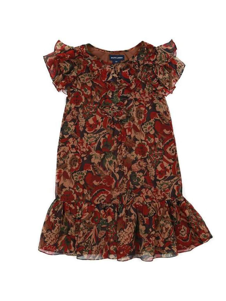 Ralph Lauren Girls Printed Dress with Ruffles by Ralph Lauren - My100Brands