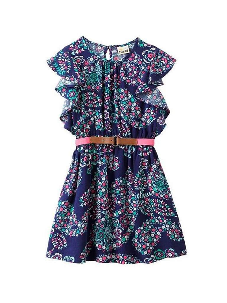 Mudd Floral Printed Belted Dress for Girls by Mudd - My100Brands