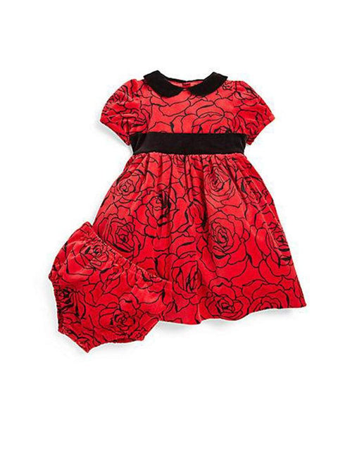Hartstrings Infant's Two-Piece Rose Print Velveteen Dress & Bloomers Set by Hartstrings - My100Brands