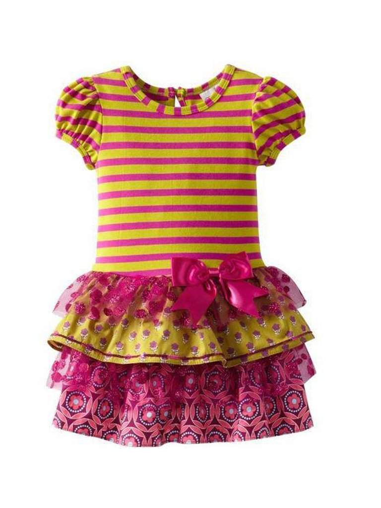 Rare Editions Stripe Dress Tulle Toddler Girl by Rare Editions - My100Brands