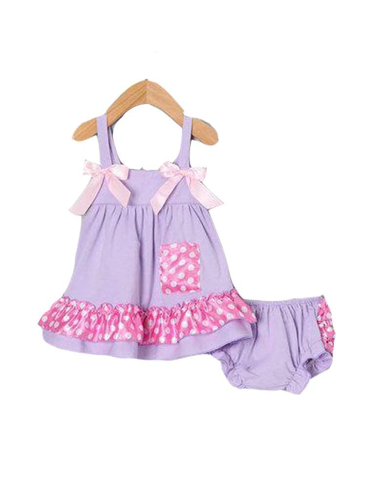 Lavender Polka Dot Swing Top and Diaper Cover by My100Brands - My100Brands
