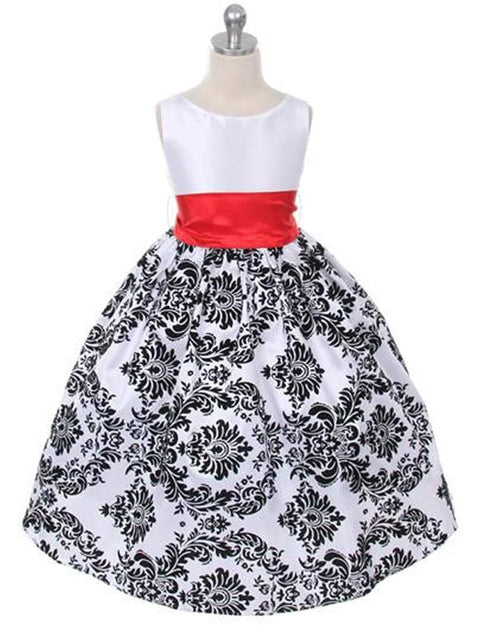 Velvet Flocked Floral Taffeta Dress Kid's Dream by My100Brands - My100Brands