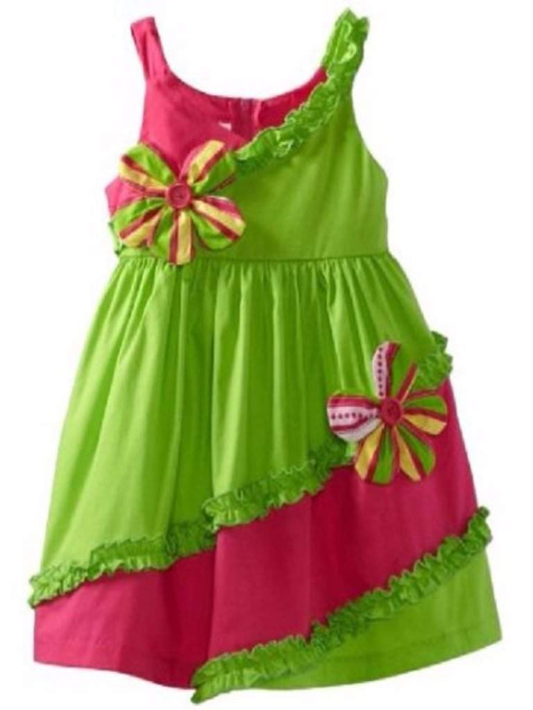 Bonnie Jean Girl's Green Bias Pieced Sundress by Bonnie Jean - My100Brands