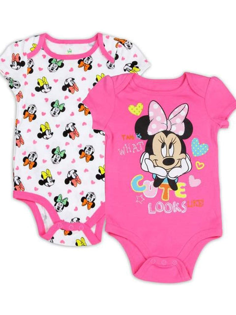 Disney Minnie Mouse Girls' 2 Pack Bodysuit Set - Pink by Disney - My100Brands