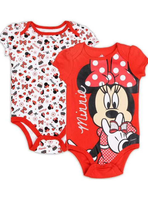 Disney Minnie Mouse Girls' 2 Pack Bodysuit Set - Red by Disney - My100Brands