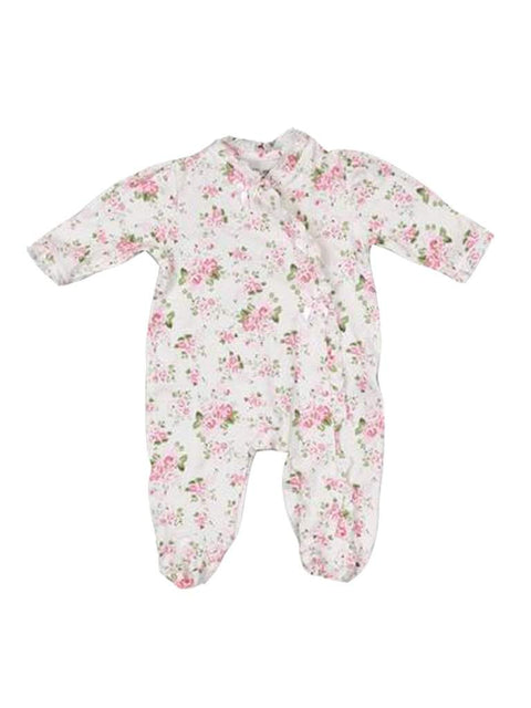 Little Me Girls' Cabbage Rose Footie & Hat Set by My100Brands - My100Brands