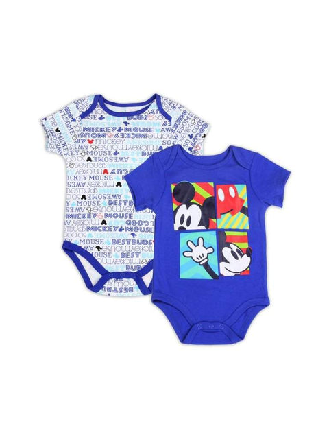 Disney Mickey Mouse Boys' 2 Pack Bodysuit Set - Blue by Disney - My100Brands