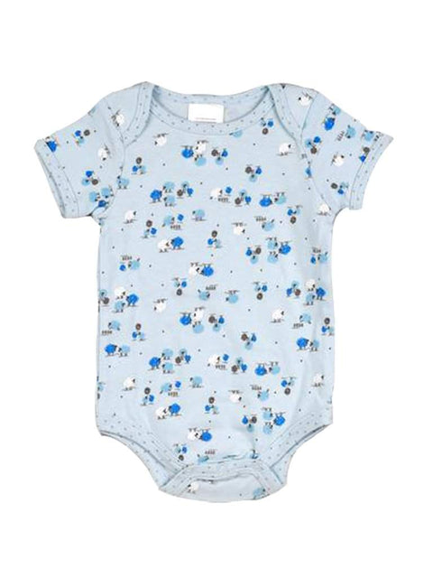 Printed Sheep Baby Boy Short Sleeve Bodysuit by My100Brands - My100Brands
