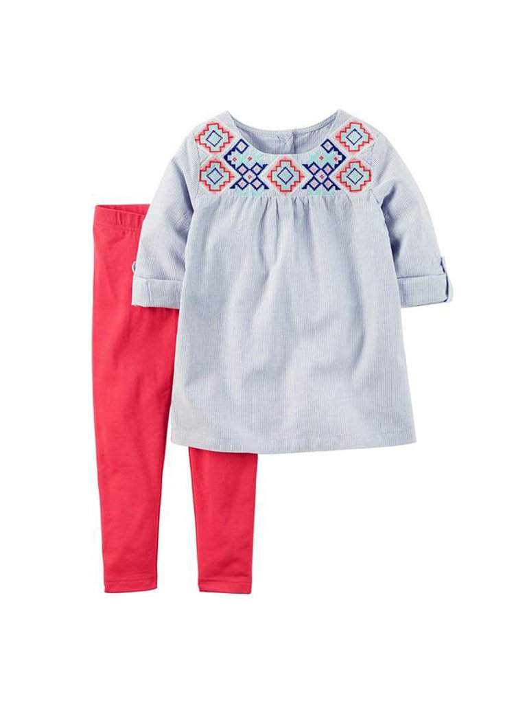 Carter's Embroidered Yoke Babydoll Top and Leggings Set by Carters - My100Brands