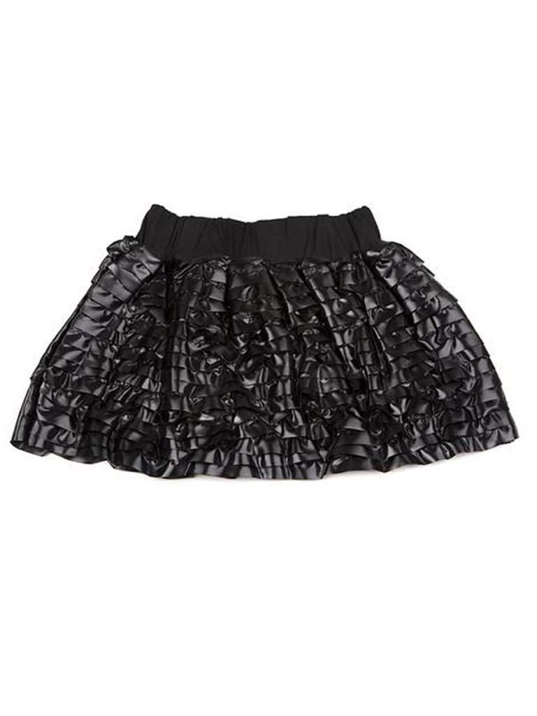 Lourdes Black Faux Leather Ruffle Skirt by Lourdes - My100Brands