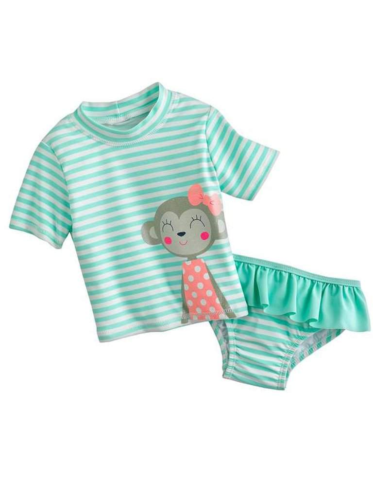 Carter's Striped Monkey Rash Guard Swimsuit 2-Pc Set by Carters - My100Brands