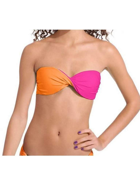 Womens Orange Pink Twist Bandeau Reversible Top by My100Brands - My100Brands