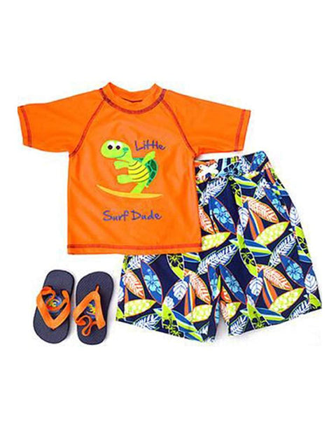 Wippette Swimwear Boys' Flip Flops Set - Orange by My100Brands - My100Brands