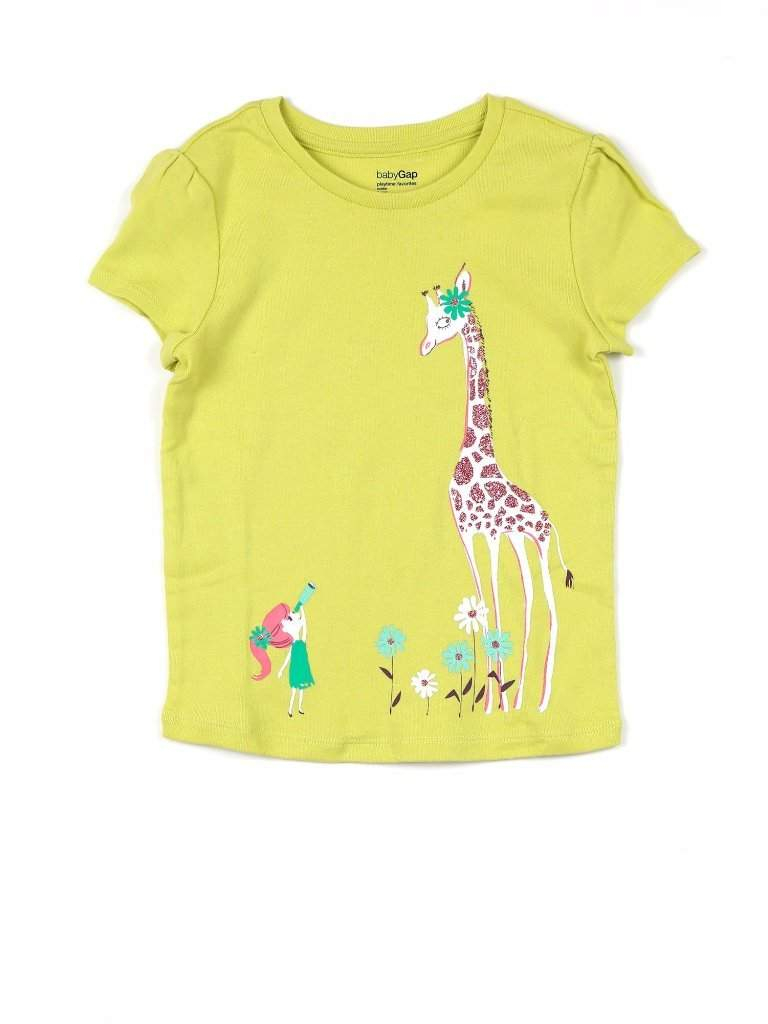 Girls' Flower Giraffe Glitter Graphic Summer Top by My100Brands - My100Brands
