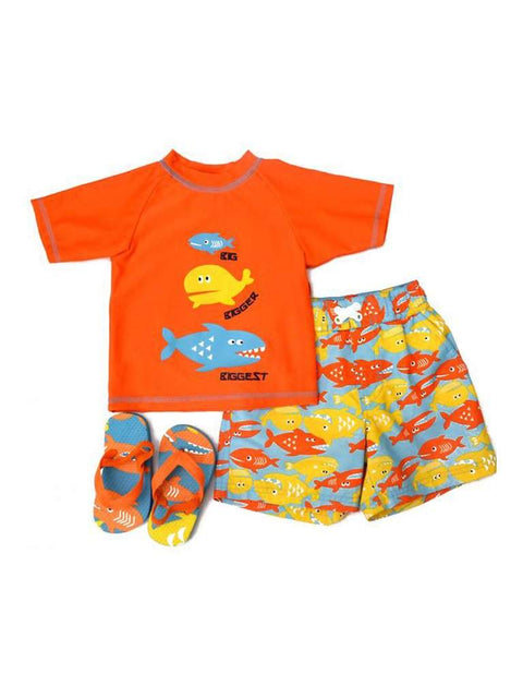 Wippette Swimwear Boys' Flip Flops Set - Orange by Wippette - My100Brands