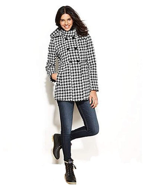 Tommy Girl Coat, Double-Breasted Hooded Houndstooth(Black/White) by Tommy Hilfiger - My100Brands