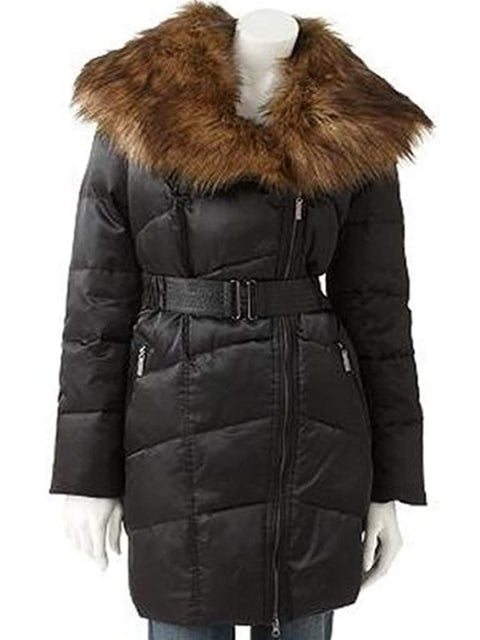 Jennifer Lopez Satin Down Puffer Jacket, Black by Jennifer Lopez - My100Brands