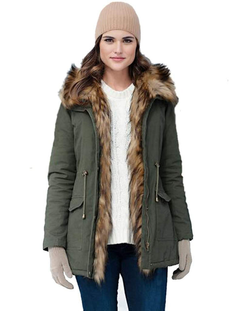 Green Military-Style Faux Fur-Lined Anorak by Fabulous-Furs - My100Brands