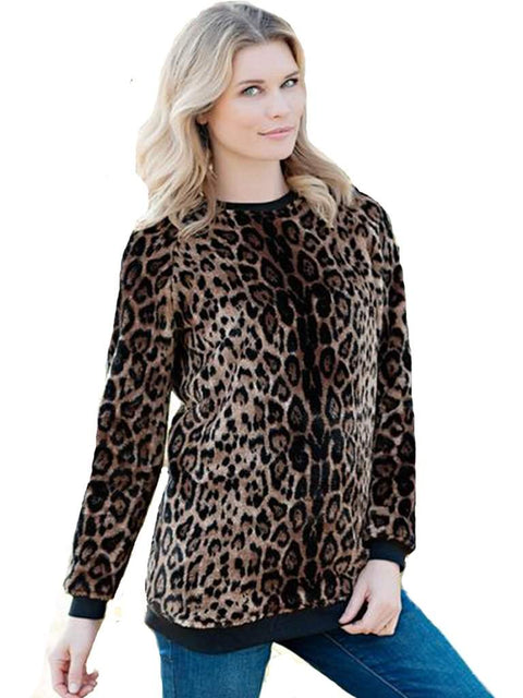 Leopard Faux Fur Pullover Sweatshirt by Fabulous-Furs - My100Brands