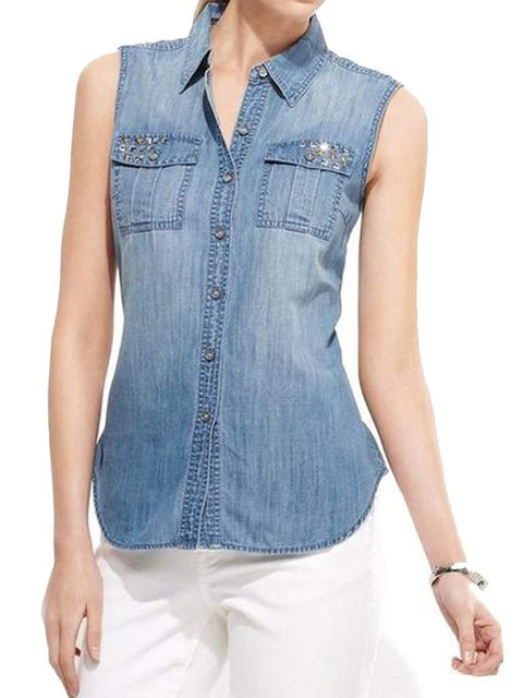 Light Wash Studded Sleeveless Women's Button Down Shirt by My100Brands - My100Brands