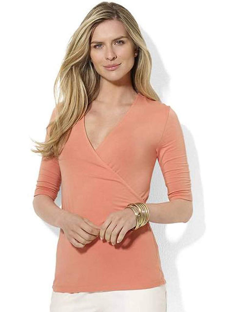 Ralph Lauren  Faux Wrap Elbow Sleeved Top by Ralph Lauren - My100Brands